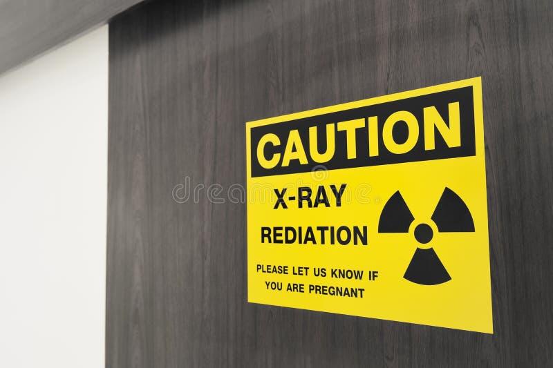 Symbol of radioactivity and radiation from x-ray machine. At hospital stock photo