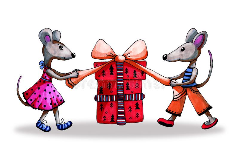 Symbol 2020 rat, mouse celebrate New Year and open gifts. Cartoon hand-drawn illustration with markers. For the design. Of children`s products, winter and stock photos