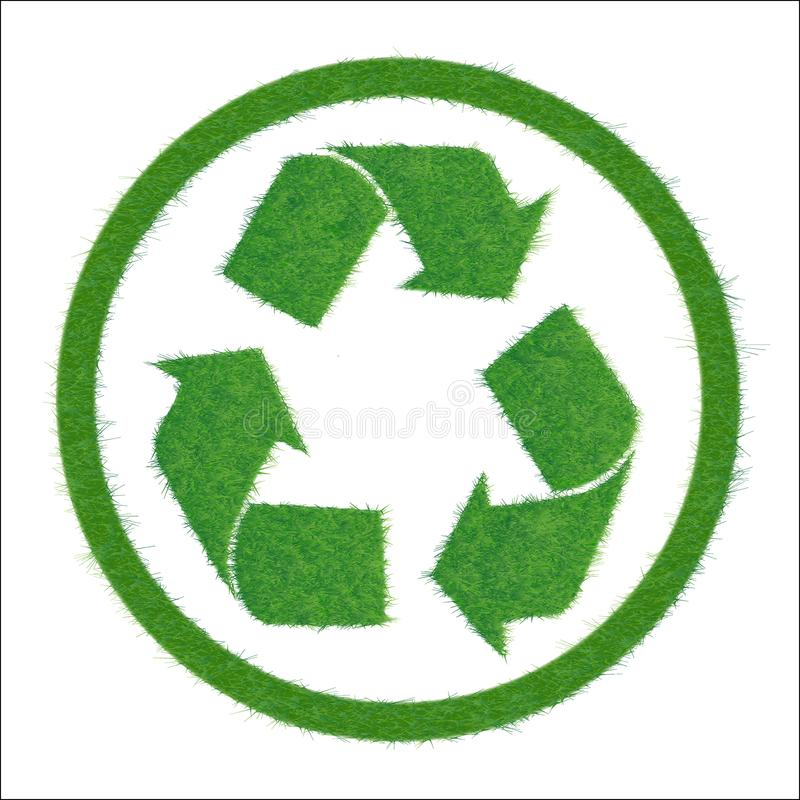Symbol of recycle. Vector illustration of a green cycle. Texture grass. Icon green sign of recycling, isolated on white background. Symbol of recycle, friendly stock illustration