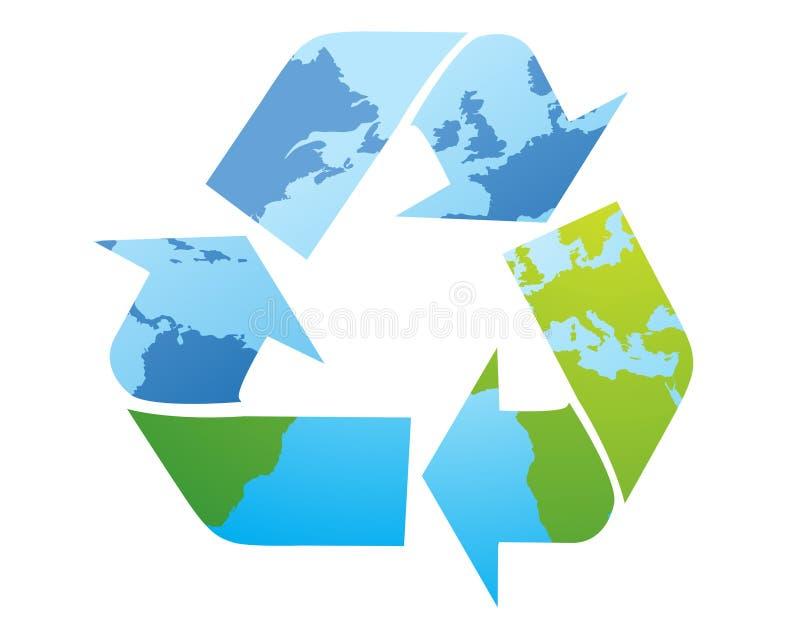symbol recyklingu mapa świata ilustracji