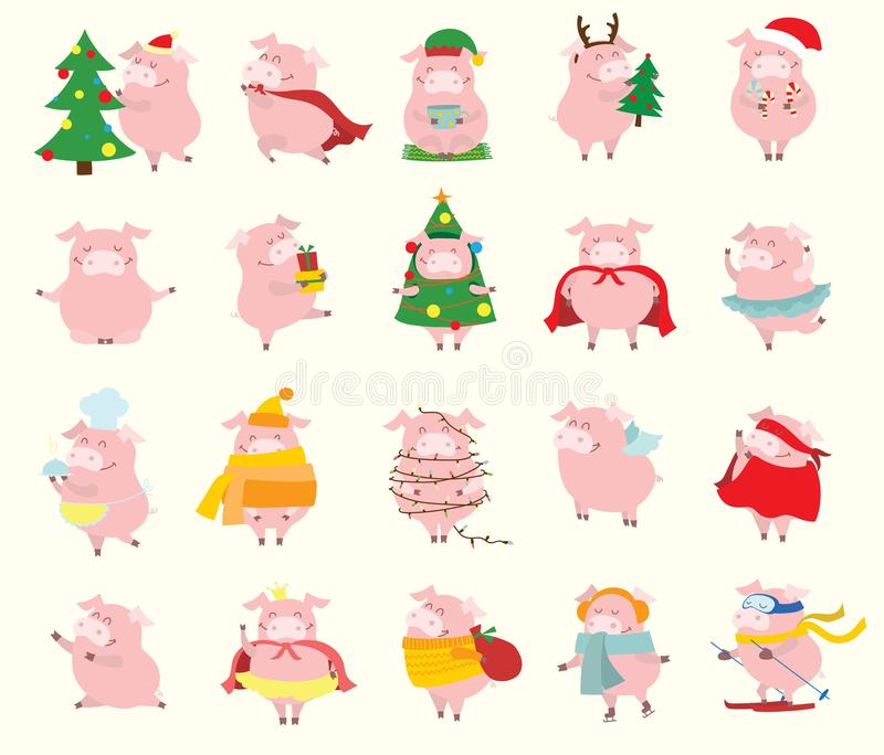 Symbol rok - żółte świnie z boże narodzenie prezentami i innymi rzeczami ilustracji