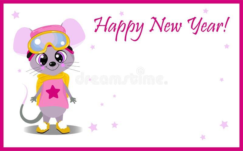 Symbol rok mysz na białym tle lub szczur witamy w karty nowego roku Charakter z du?ymi oczami ilustracja wektor