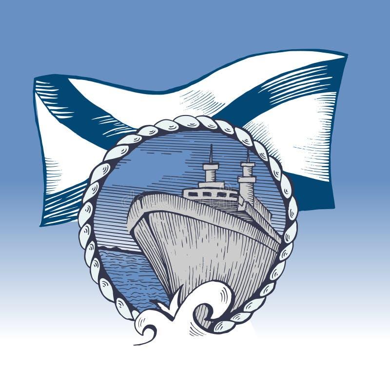 Symbol Rosyjska marynarka wojenna St Andrew ` s flaga royalty ilustracja