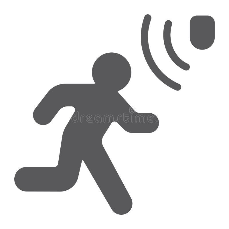 Symbol, säkerhet och avkännare för skåra för rörelseupptäckt som går mantecknet, vektordiagram, en fast modell stock illustrationer