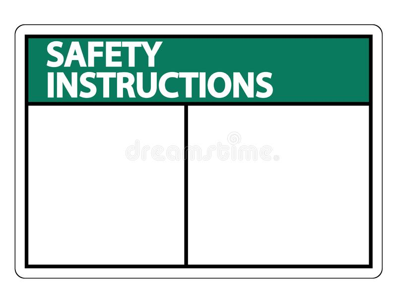 symbol Safety instructions sign label on white background stock illustration