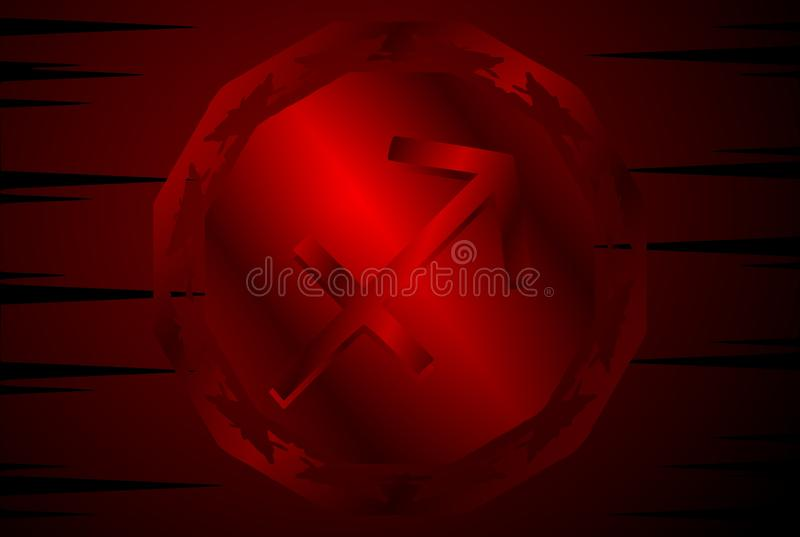 Symbol of sagittarius zodiac sing on background. Image representing the symbol of archer zodiac sign planet on a background. An image that can be used in vector illustration