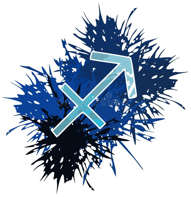 Symbol Of Sagittarius Zodiac Sing Made With Spots Isolated Stock