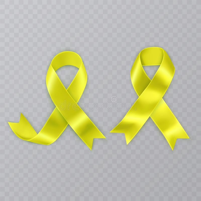 The Symbol of Sarcoma Cancer Awareness Realistic Yellow Ribbon. Vector illustration on transparent background. The Symbol of Sarcoma Cancer Awareness Realistic vector illustration