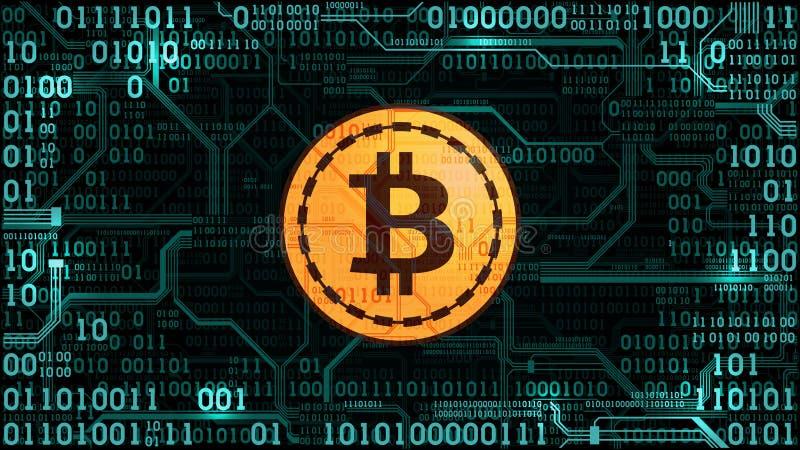 Symbol Schlüsselwährung bitcoin auf dem Hintergrund des binär Code und der Leiterplatte vektor abbildung
