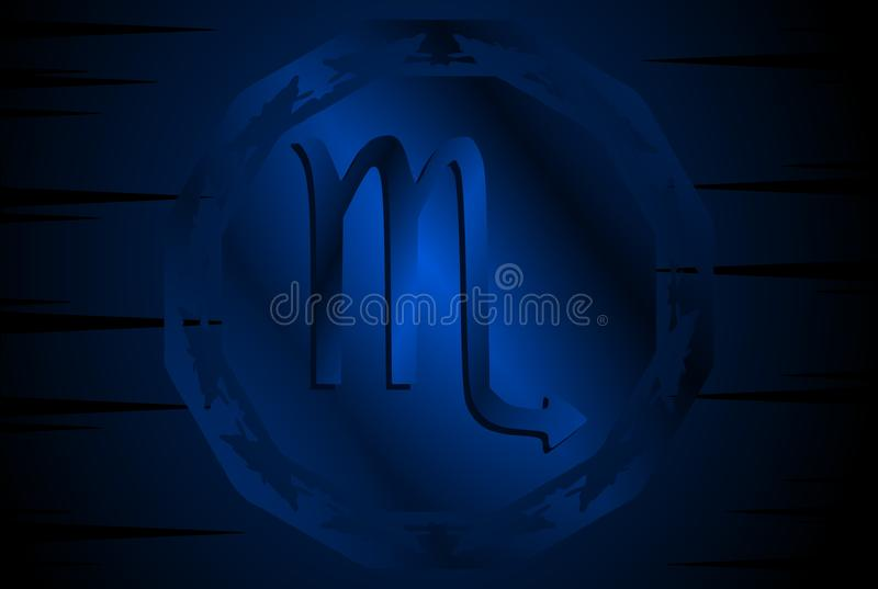 Symbol of scorpion sign on background. Image representing the symbol of scorpio zodiac sign planet on a background. An image that can be used in different stock illustration