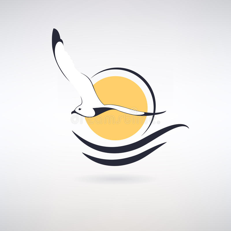 Symbol Seagull. On a background of the sun and sea waves stock illustration