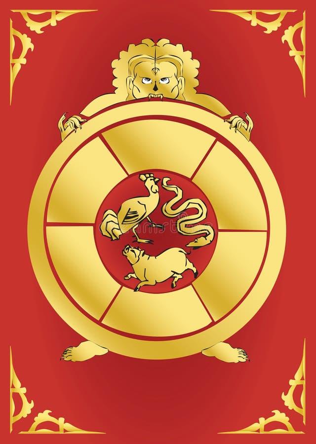 Download Bouddhist Symbol-Golden Samsara Wheel Stock Image - Image: 5207107