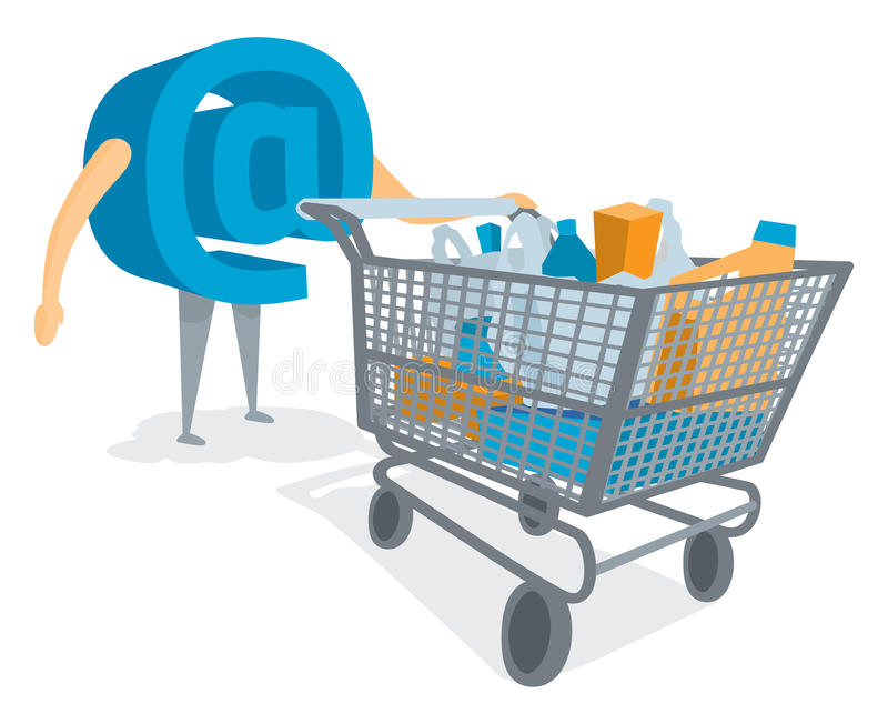 At symbol shopping or buying groceries with cart. Cartoon illustration of at sign buying online with shopping cart stock illustration