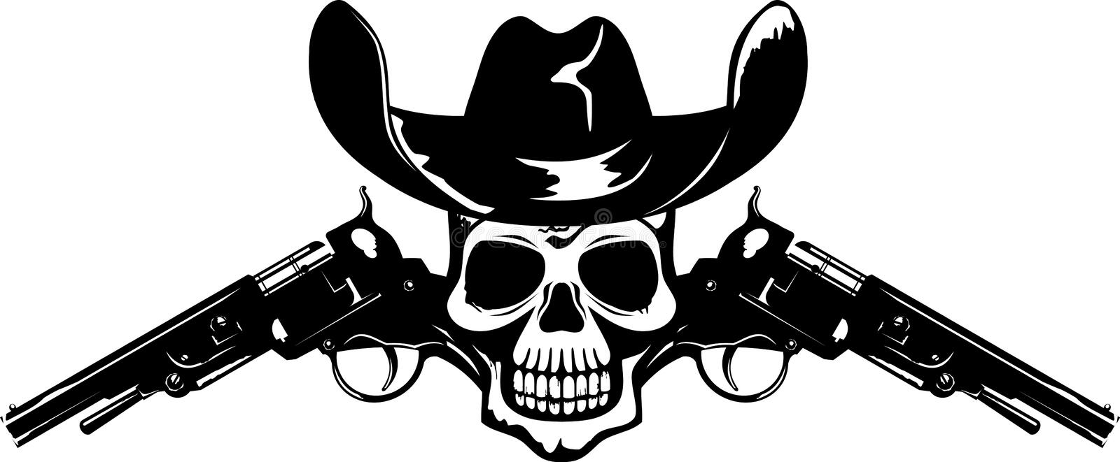 Symbol with skull. Abstract symbol with skull, guns and cowboy's hat in vector format black and white