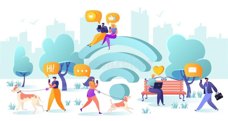 Symbol, smartphone, gadżet, płaski projekt, laptop, charakter, związek, rozmowa, komunikacja, biznesmen, rozmowa, grupa, app ilustracji