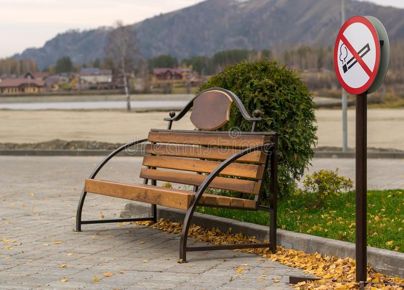 Symbol, Smoking area, with benches in the Park under construction for tourism and recreation stock photography