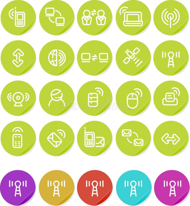 symbol som knyter kontakt plain trådlösa inställda etiketter royaltyfri illustrationer