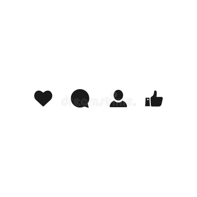 Symbol som, kommentar, användare, tumme upp mörkt tecken för socialt massmedia vektorsymboler EPS10 vektor illustrationer