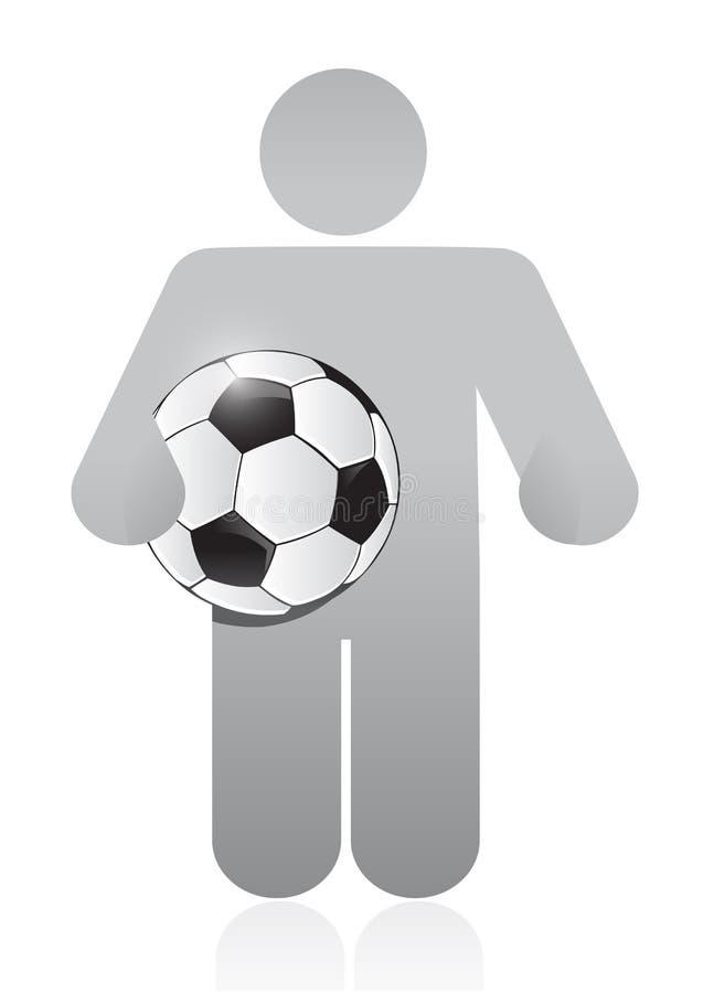 Symbol som rymmer en design för illustration för fotbollboll vektor illustrationer