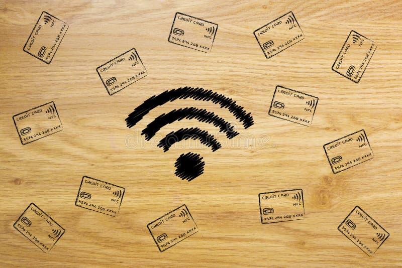 symbol som Wi-fi omges av fallande kreditkortar royaltyfri foto