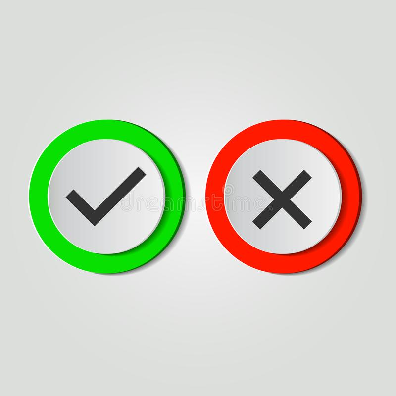 Symbol, tak żadny ikona lub, zieleń, czerwień na białym tle również zwrócić corel ilustracji wektora ilustracji