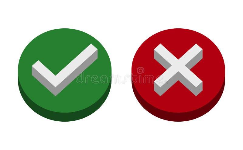 Symbol, tak żadny ikona lub, zieleń, 3D, czerwień na białym tle również zwrócić corel ilustracji wektora royalty ilustracja
