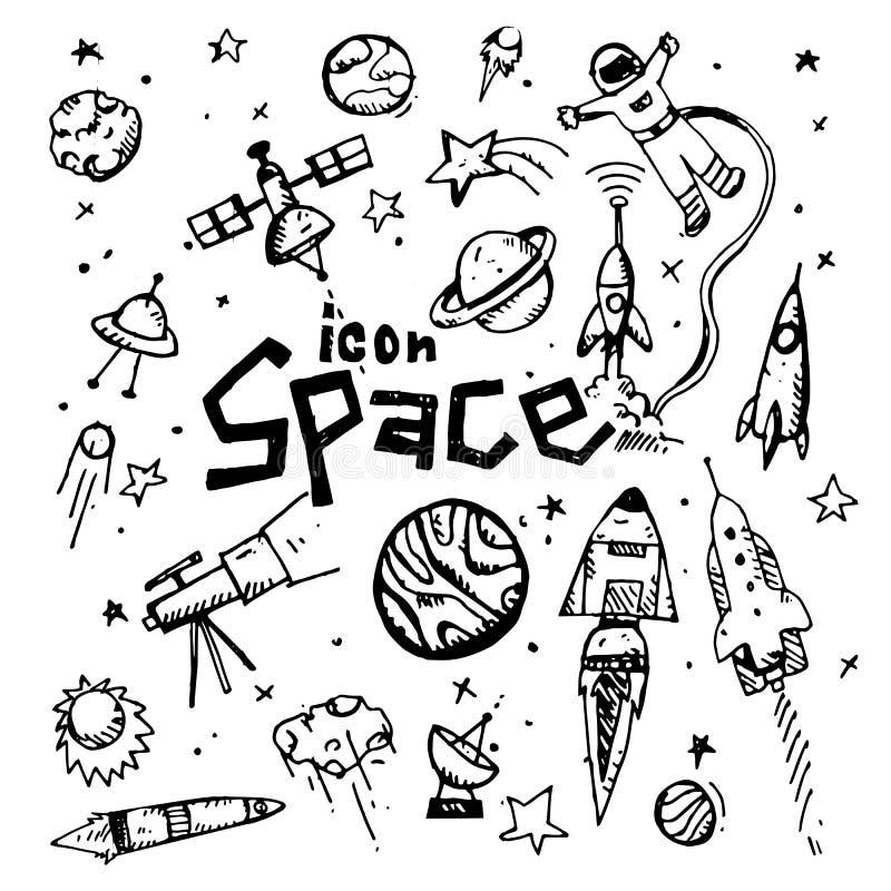 symbol tecknad hand Themed klotter för utrymme Plan illustration för vektor På vitbakgrund stock illustrationer