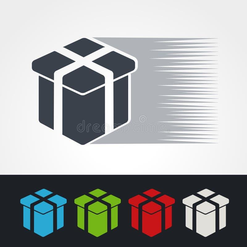 Symbol tempo dostawa, ikony prędkości prezent wysyłka, sylwetka pudełko Zielony, popielaty, błękitny, czerwieni i biel teraźniejs ilustracja wektor