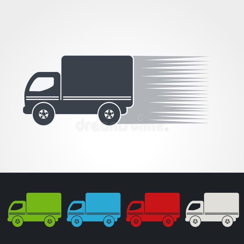 Symbol tempo dostawa, ikony prędkości pudełko wysyłka, sylwetka ciężarówka Zielony, popielaty, błękitny, czerwieni i biel, barwi ilustracji
