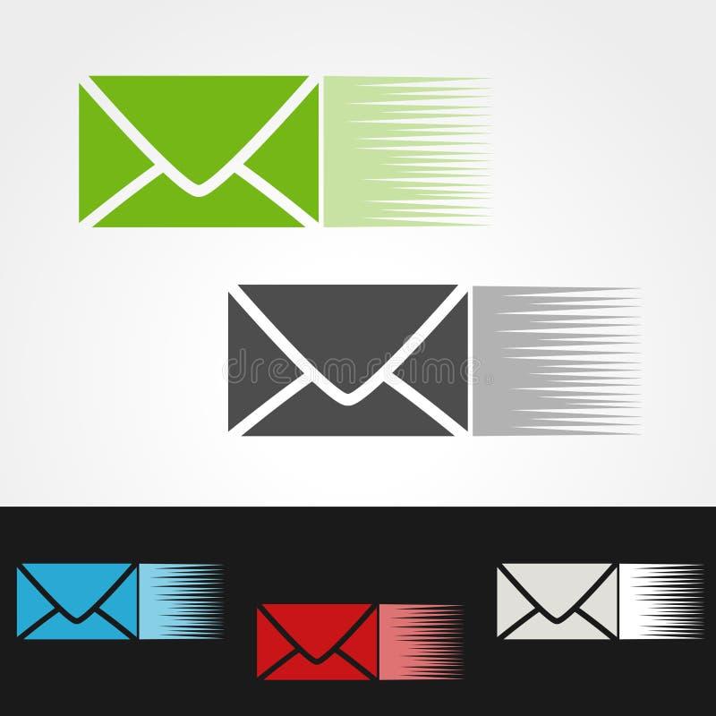Symbol tempo dostawy lub prędkości ikona, sylwetka koperty, zieleni, popielatego, błękitnego, czerwieni i bielu list, e-mailowy s royalty ilustracja
