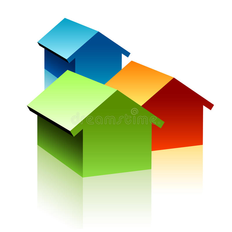 Download Symbol of three houses stock illustration. Illustration of green - 16050182