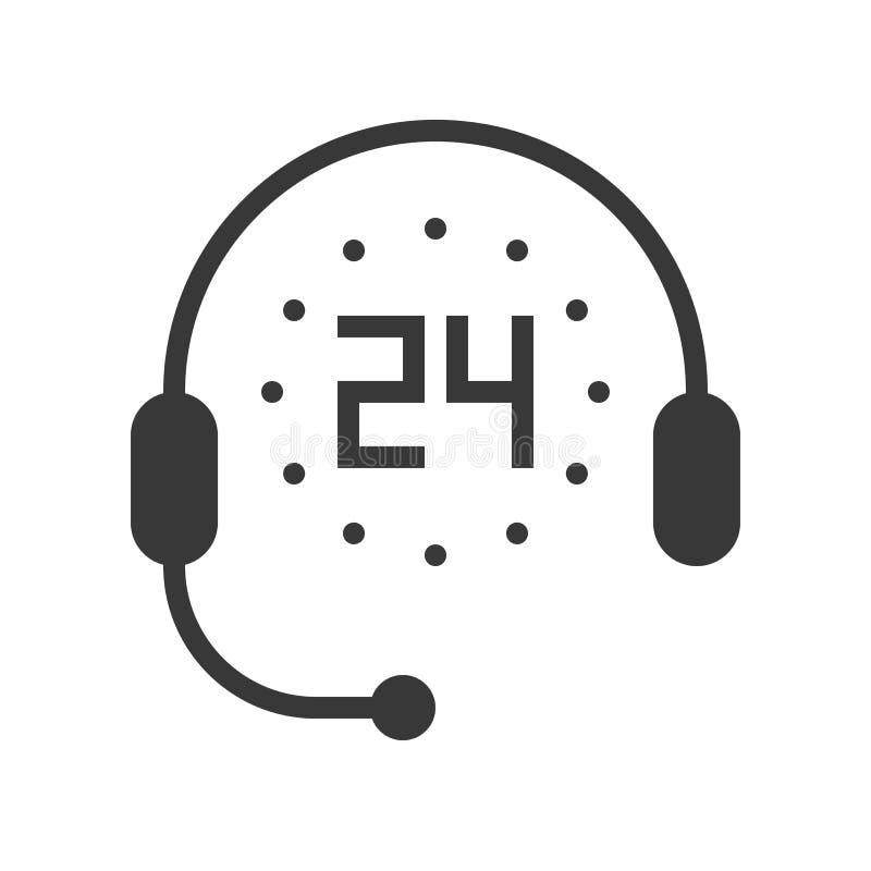 Symbol, tidmätare 24 timmar och headphone för service, perfekt PIXEL royaltyfri illustrationer
