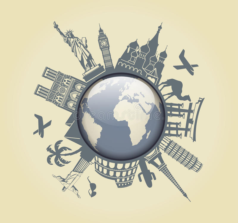 Symbol of travel. Symbol of adventure in the form of a globe and world attractions stock illustration