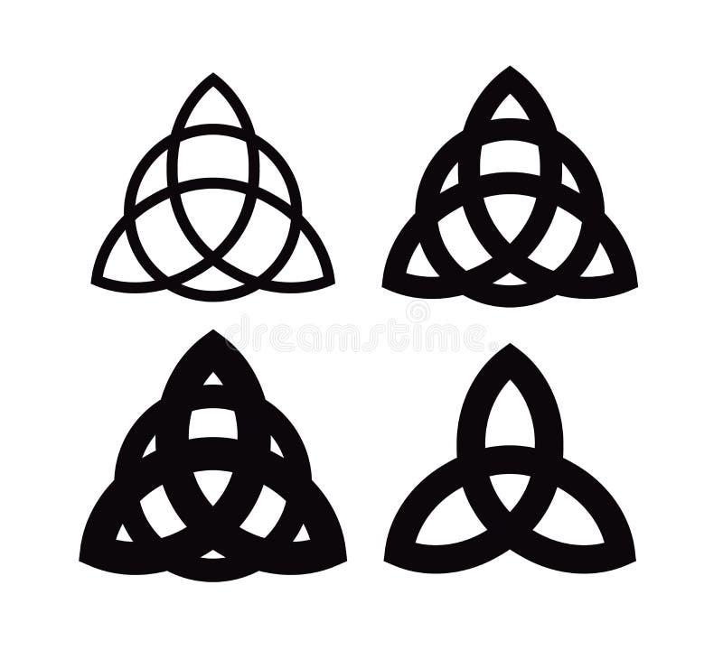Symbol Triquetra - Wiccan von bezaubert Verschiedene Formen der keltischen heidnischen Dreiheitsknoten Vektorikonen von alten Emb lizenzfreie abbildung