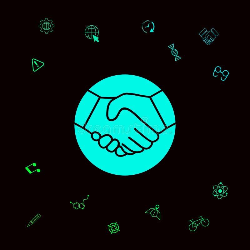Symbol uścisk dłoni w okręgu ikona Graficzni elementy dla twój designt ilustracja wektor
