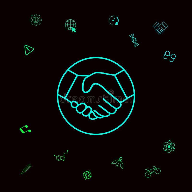 Symbol uścisk dłoni w okręgu Kreskowa ikona Graficzni elementy dla twój designt ilustracji