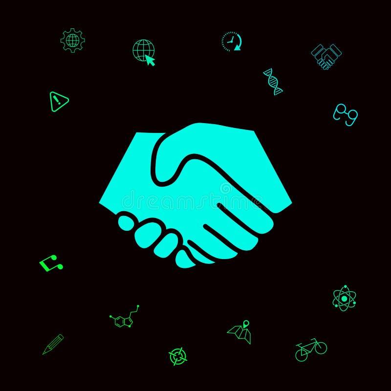 Symbol uścisk dłoni w okręgu Znak Graficzni elementy dla twój designt ilustracja wektor