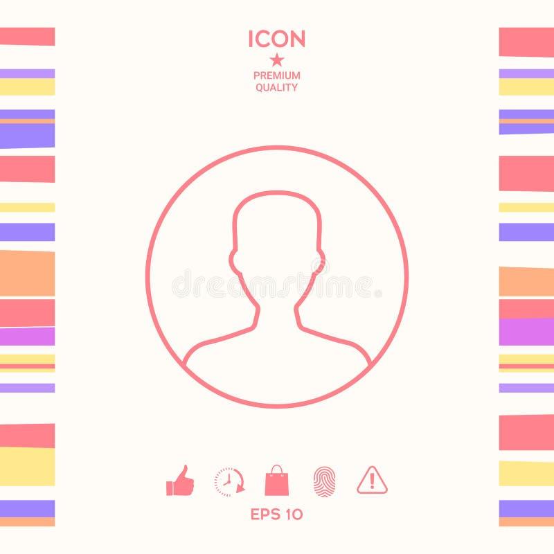 Symbol użytkownik ikona w okręgu Profilowa kreskowa ikona ilustracja wektor