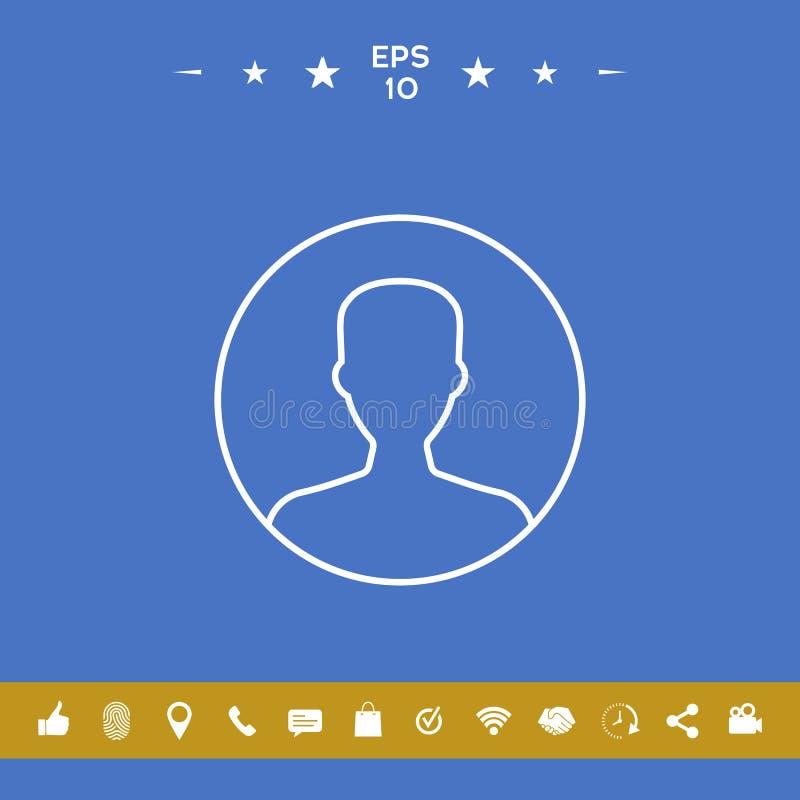 Symbol użytkownik ikona w okręgu Profilowa kreskowa ikona royalty ilustracja