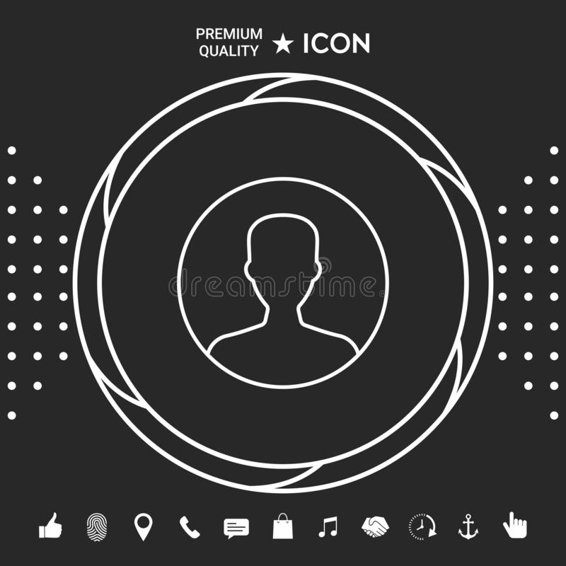 Symbol użytkownik ikona w okręgu Profilowa kreskowa ikona Graficzni elementy dla twój designt ilustracja wektor