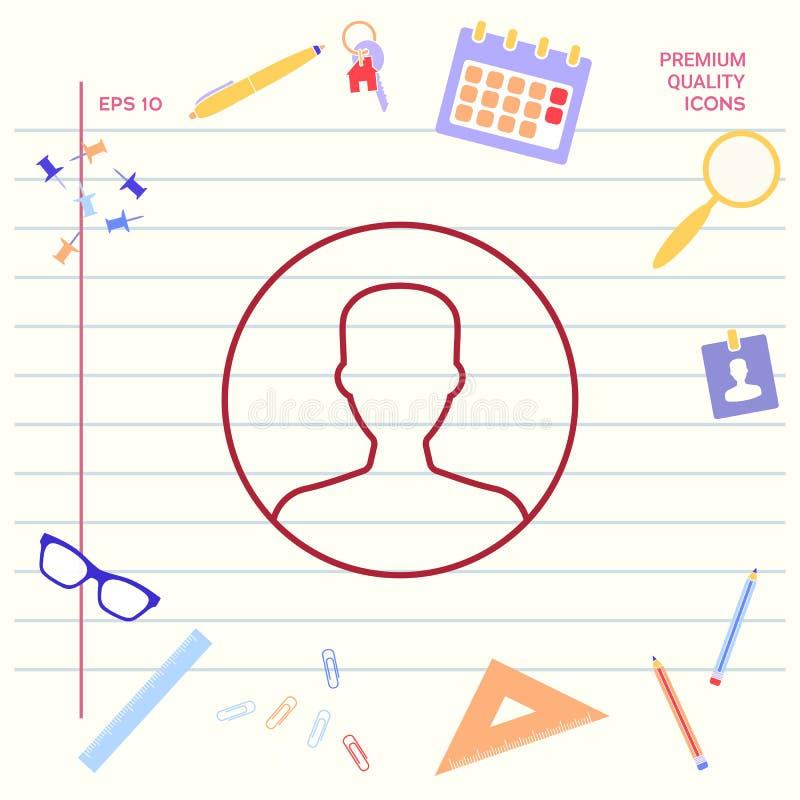 Symbol użytkownik ikona w okręgu Profilowa kreskowa ikona Graficzni elementy dla twój projekta ilustracja wektor