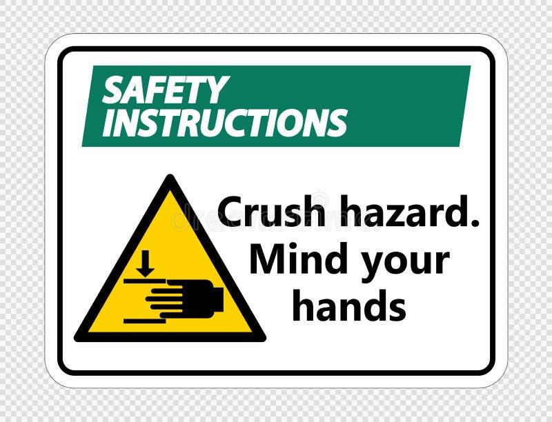 Symbol Unfallverhütungsvorschriften zerquetschen Gefahr Verstand, den Ihre Hände auf transparentem Hintergrund unterzeichnen vektor abbildung