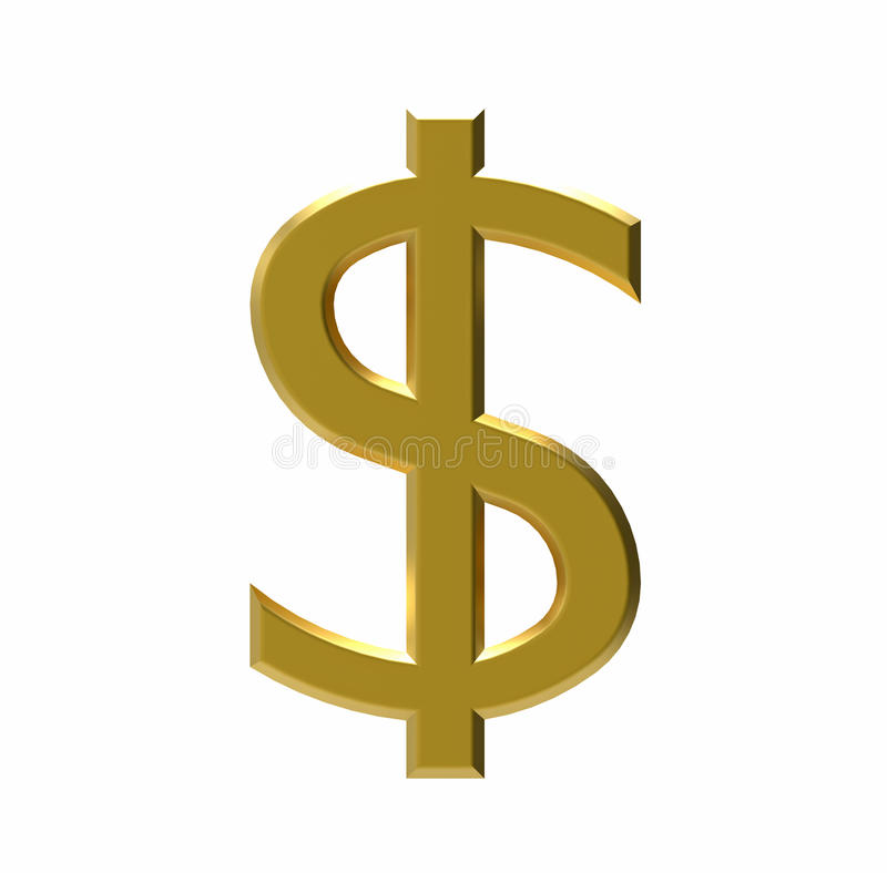 Symbol USA dolar, 3D rendering royalty ilustracja