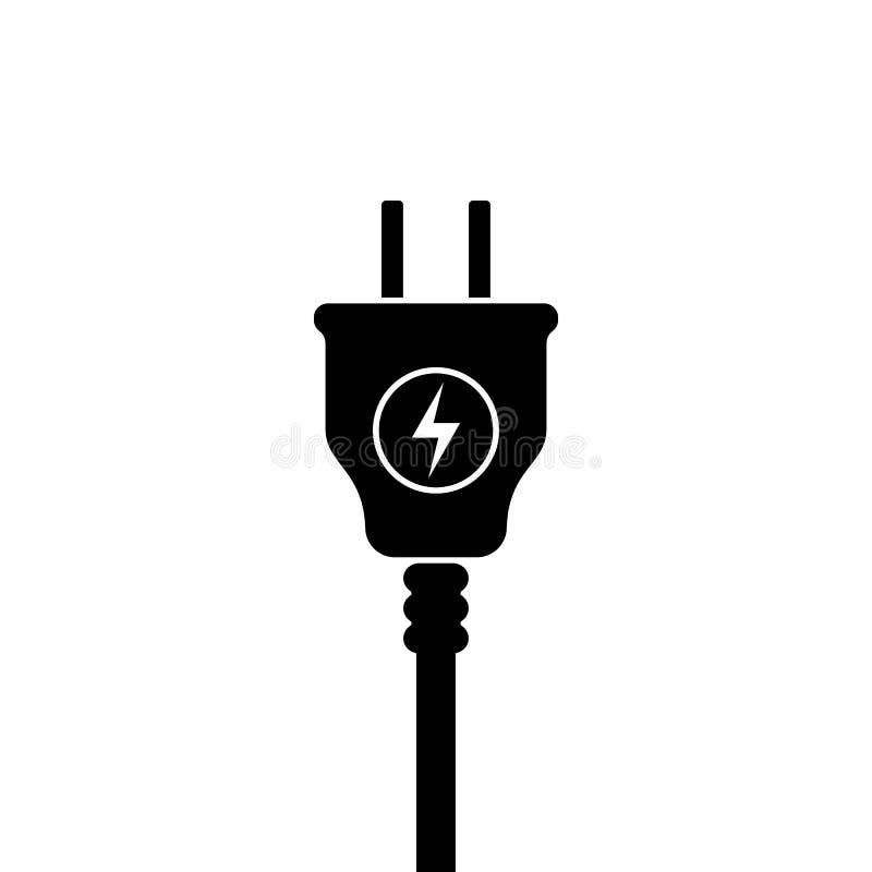 Symbol USA för elektrisk propp, symbol Standard Förenta staterna Blixttecken royaltyfri illustrationer