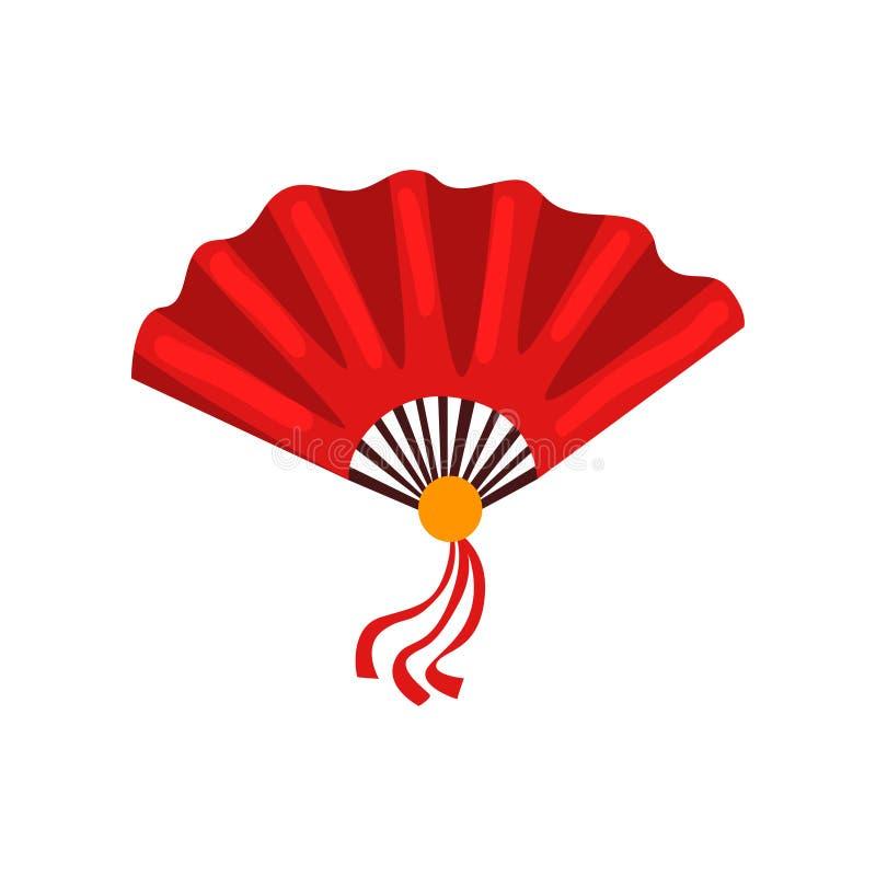 Symbol-Vektor Illustration des roten Fans chinesische traditionelle auf einem weißen Hintergrund lizenzfreie abbildung