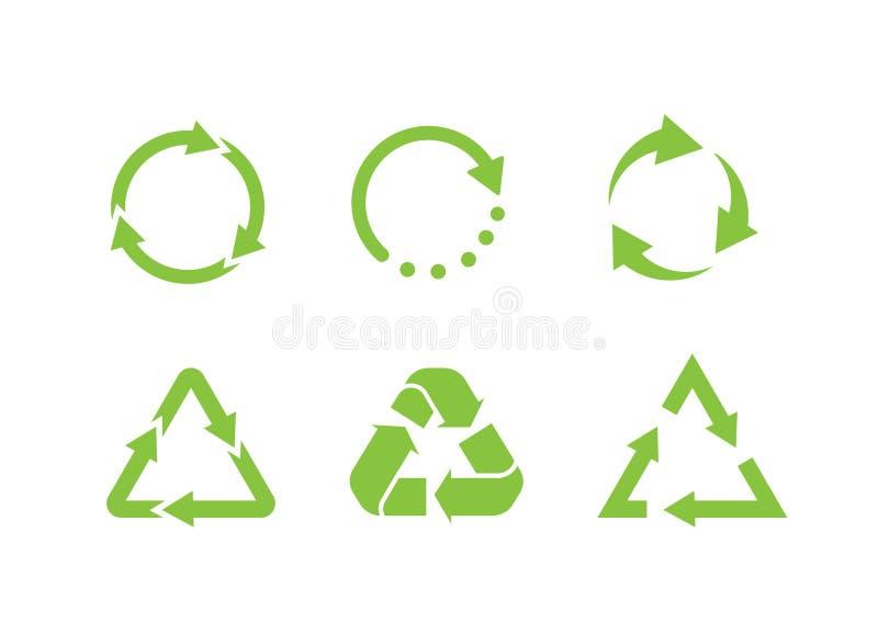 Symbol-Vektor wiederverwenden Symbol für Recyclingsatz Ökologisch reine Mittel Reihe von grünen Eco-Pfeilen Flachbild vektor abbildung