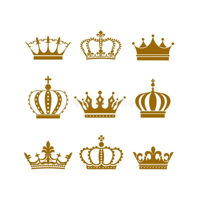 Symbol-Vektorillustration des Kronenikonensatzes heraldische lizenzfreie abbildung