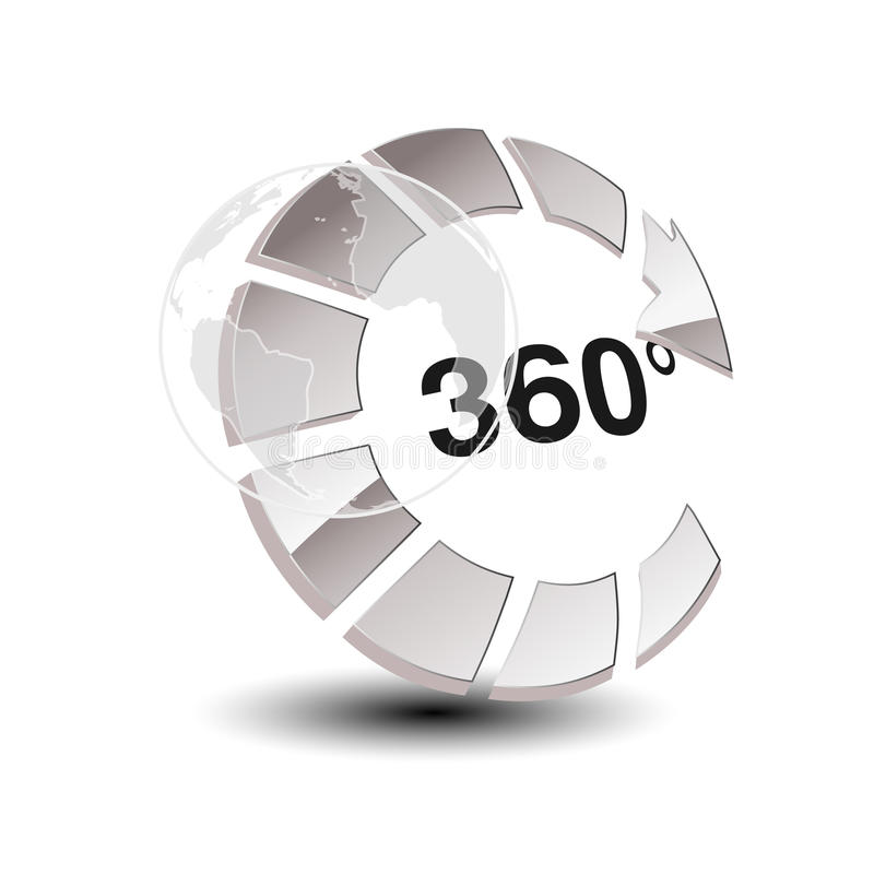 Symbol for virtual tour, glossy silver arrow with globe - button with the inscription 360 and with symbol of wolrd. stock illustration