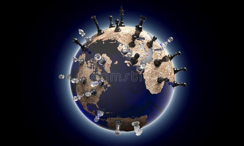 Symbol von Geopolitik die Weltkugel mit Schachfiguren lizenzfreie abbildung