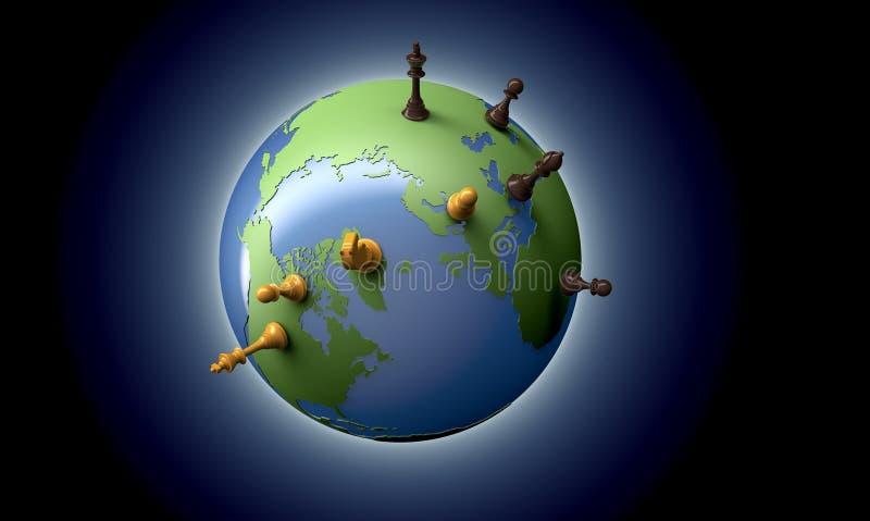 Symbol von Geopolitik die Weltkugel mit Schachfiguren stock abbildung